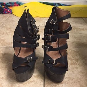 Ellie platform high heels black used SIZE 6